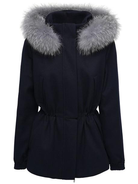 LORO PIANA Cashmere Parka W/fox Fur in grey