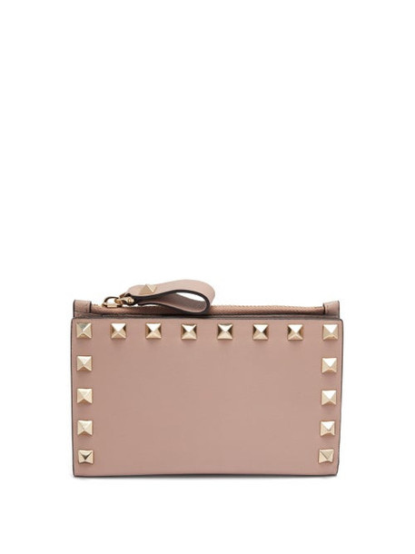 Valentino - Rockstud Leather Card And Coin Purse - Womens - Nude