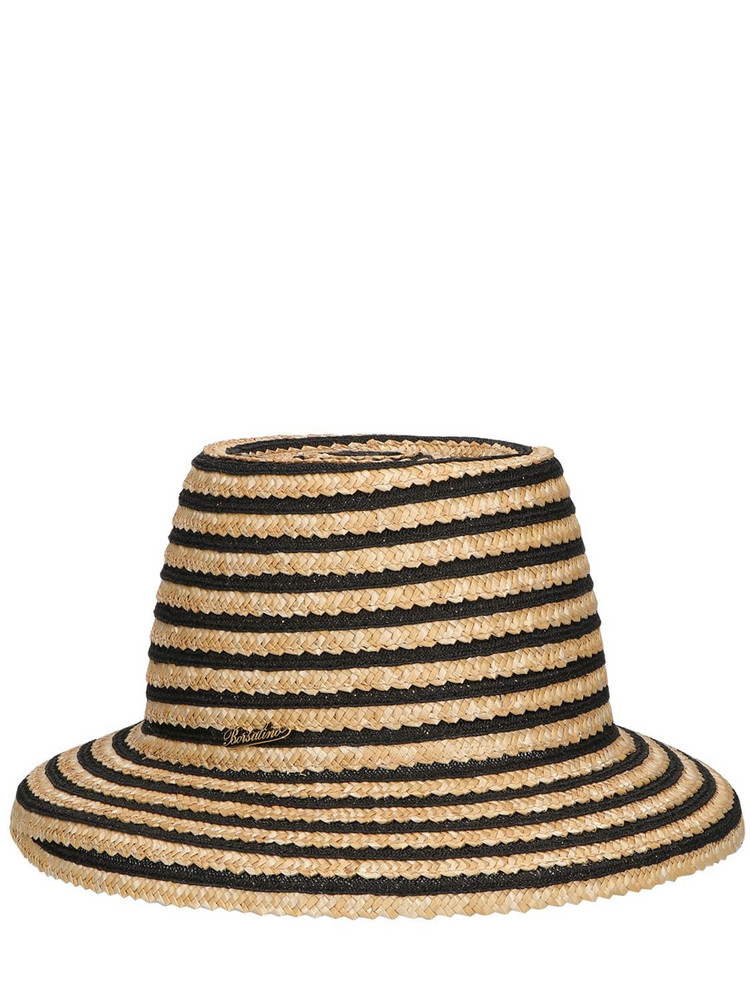 BORSALINO Cloche Striped Straw Hat in brown / beige
