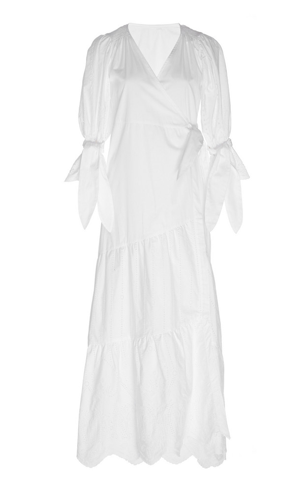 Sir The Label Delilah Wrap-Effect Cotton-Poplin Maxi Dress in white