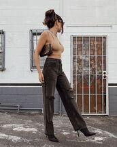 jeans,black jeans,mom jeans,ripped jeans,black boots,crop tops,shoulder bag