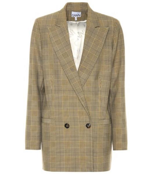 Ganni Checked blazer in brown