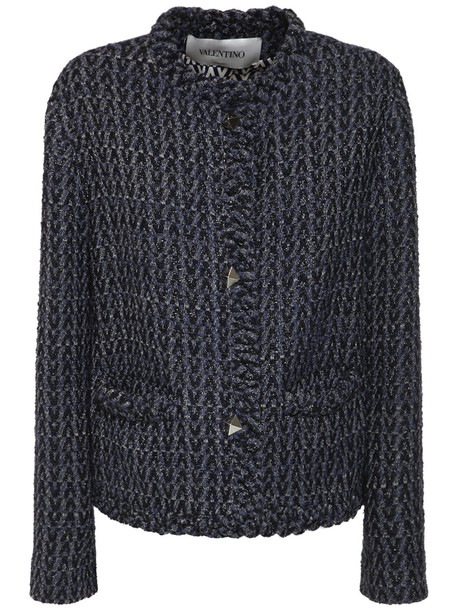VALENTINO Optical Tweed Jacket W/roman Studs in navy