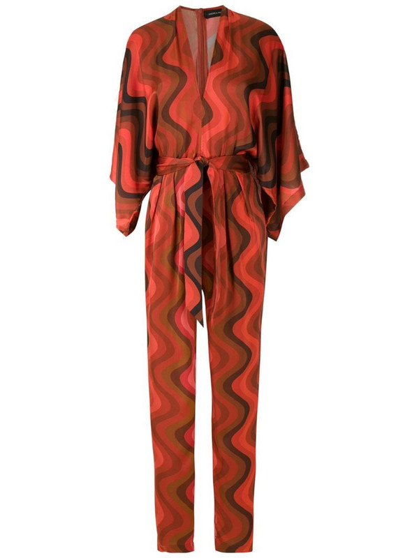Andrea Marques silk V-neck jumpsuit in red