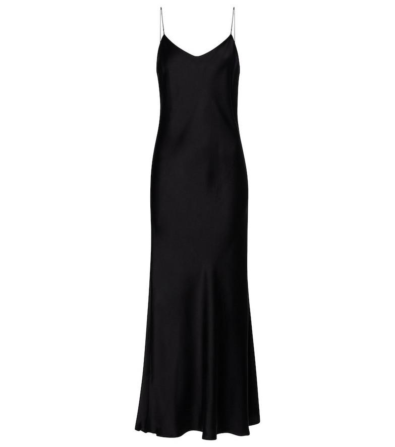 Asceno Lyon silk satin slip dress in black
