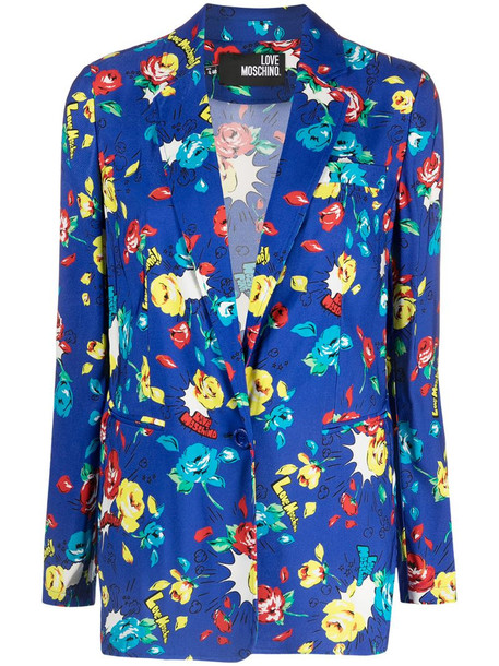 Love Moschino floral-print single-breasted blazer in blue