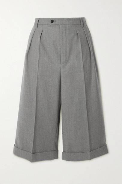 SAINT LAURENT - Wool-twill Shorts - Gray