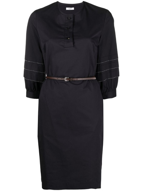 Peserico belted chain-detail dress in blue