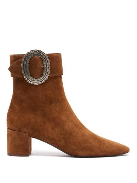 Saint Laurent - Joplin Western Suede Boots - Womens - Tan