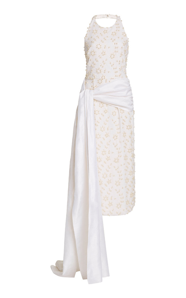 Markarian Draped Embellished Broderie Anglaise Cotton Midi Dress in white