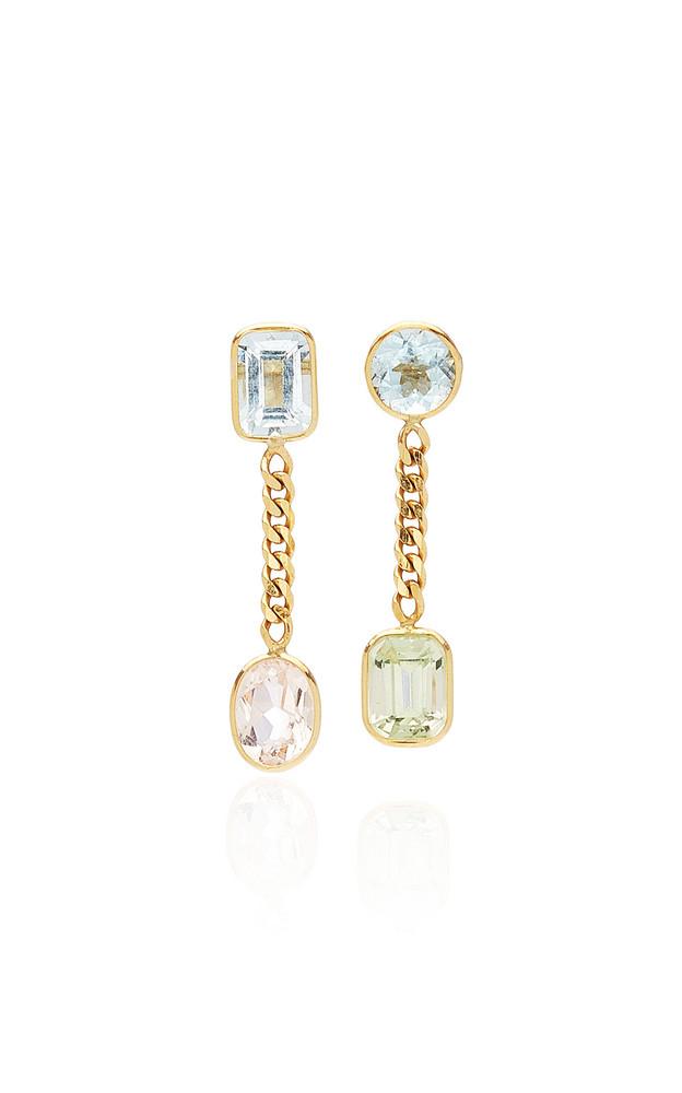 Objet-a Curb 18K Gold, Aquamarine And Morganite Earrings in blue
