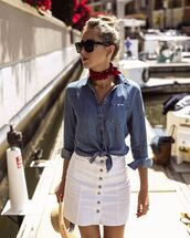 skirt,mini skirt,white skirt,denim skirt,denim shirt,hat,scarf