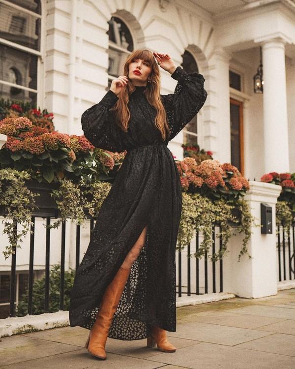 shoes knee high boots maxi dress black dress turtleneck dress wrap dress