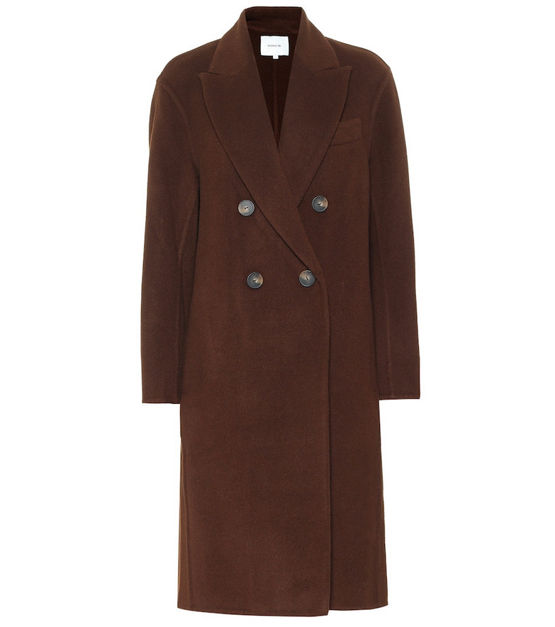 Vince Double-breasted wool-blend coat in brown