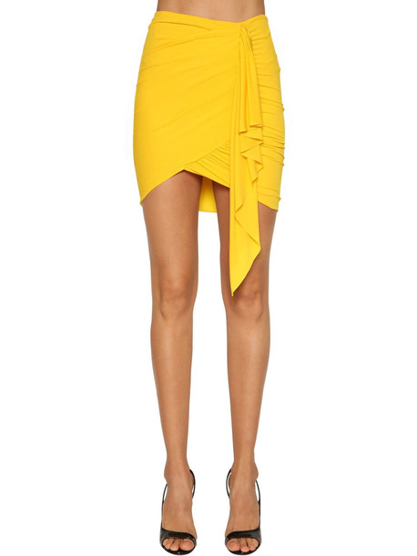 ALEXANDRE VAUTHIER Ruched Stretch Jersey Mini Skirt in yellow