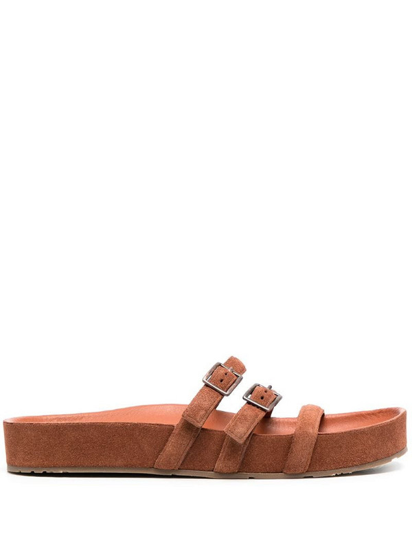 Pedro Garcia strappy buckled flat sandals in brown