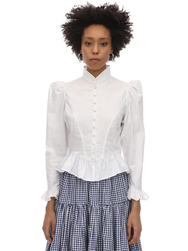 BATSHEVA Grace Cotton Poplin Blouse in white
