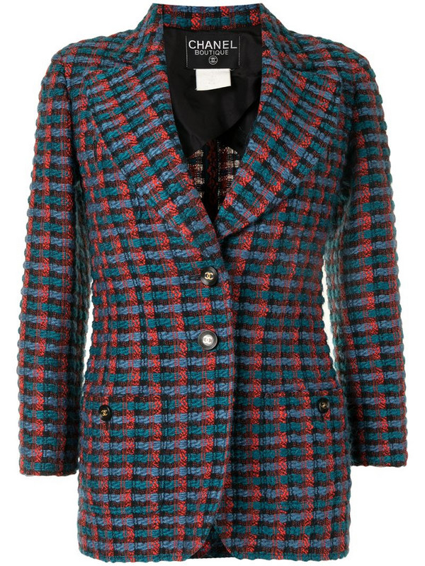Chanel Pre-Owned checked woven blazer in red