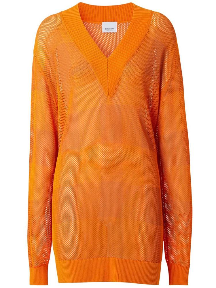 BURBERRY Zoie Knit V Neck Sweater in orange