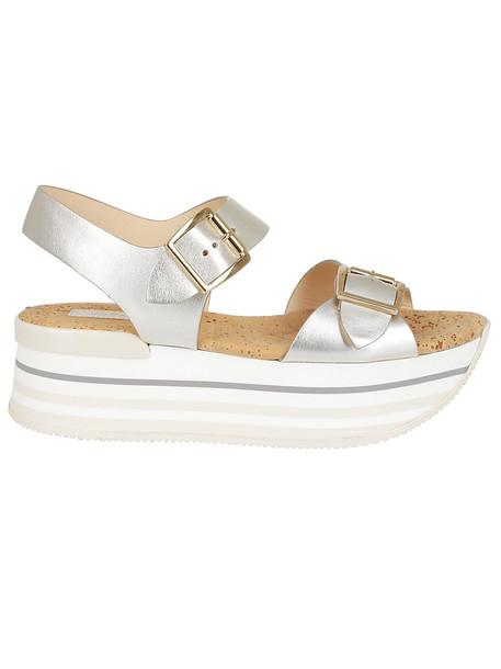 Hogan Maxi H222 Wedge Sandals in silver