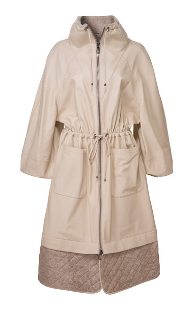 DoDo Bar Or Piki Oversized Shearling-Lined Leather Hooded Parka in white