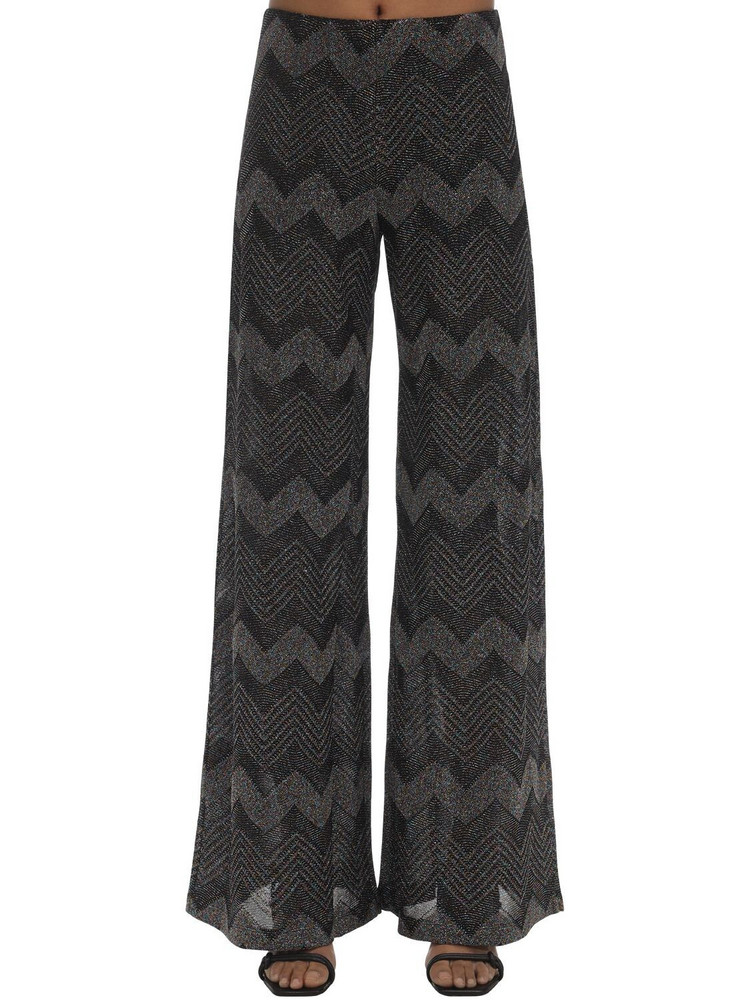 M MISSONI Zig Zag Lurex Knit Flared Pants in black