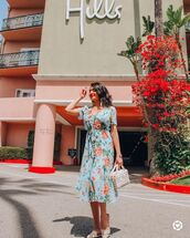 dress,midi dress,blue dress,floral,floral dress,sunglasses