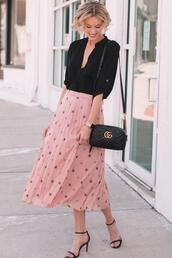 straight a style,blogger,dress,pants,jacket,skirt,pleated skirt,pink skirt,sandals,gucci bag,black shirt