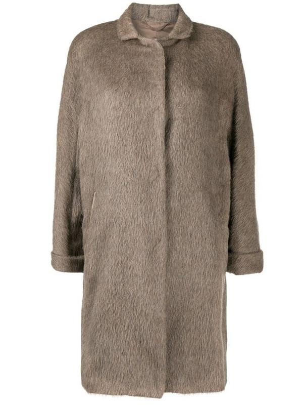 Herno three-quarter length sleeve wool coat in brown