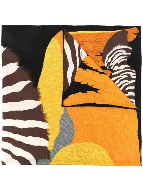 Hermès pre-owned animal-print scarf in brown