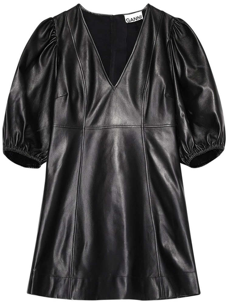 GANNI Leather Mini Dress in black