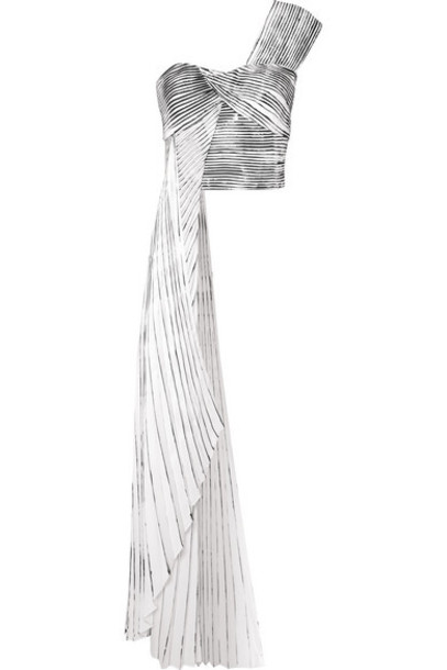SemSem - One-shoulder Asymmetric Printed Pleated Crepe Top - White