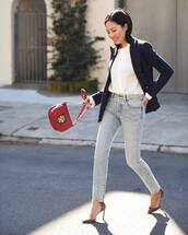 jeans,skinny jeans,high waisted jeans,ralph lauren,pumps,bag,black blazer,white blouse