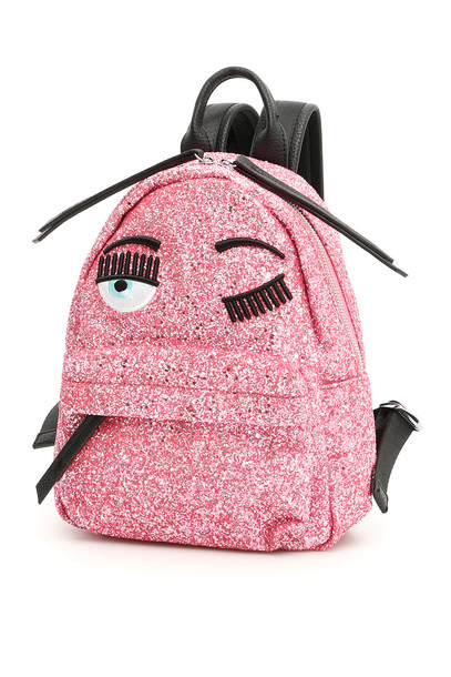 Chiara Ferragni Small Glitter Flirting Backpack in pink / fuchsia