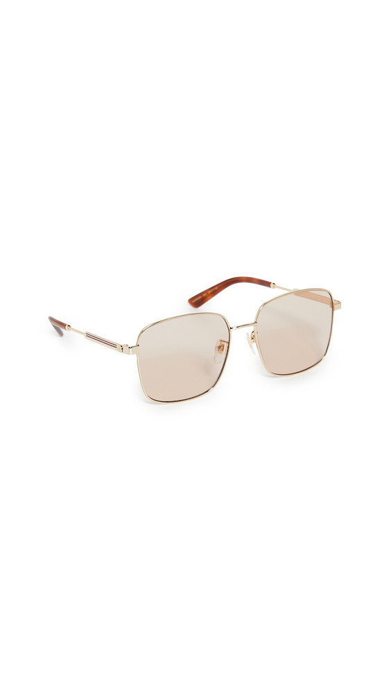 Gucci Vintage Web Oversized Square Sunglasses in brown / gold
