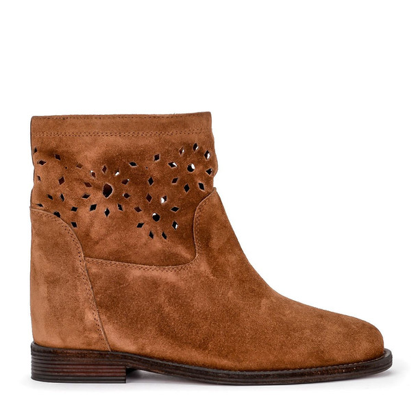 Via Roma 15 Brown Pierced Suede Leather Ankle Boots