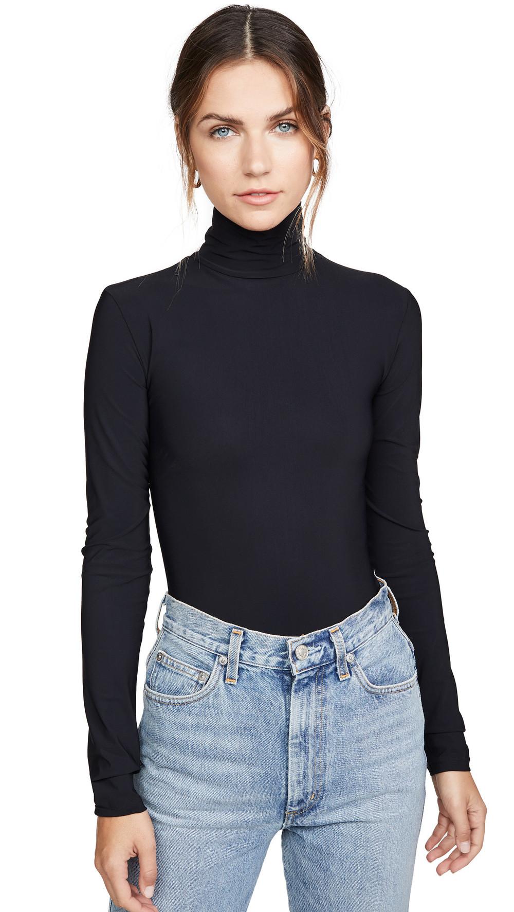 Alix Warren Thong Back Bodysuit in black