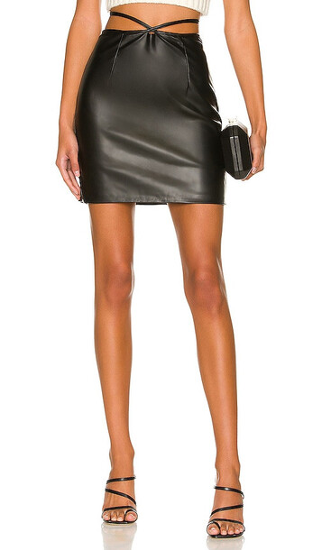 Bardot Strappy Vegan Leather Mini Skirt in Black