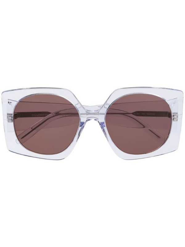 Courrèges Eyewear oversized geometric-frame sunglasses in neutrals