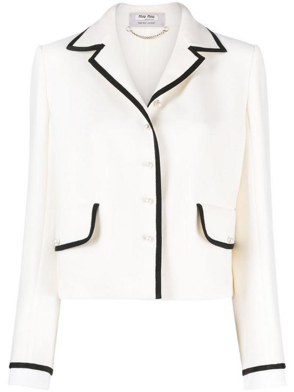 Miu Miu contrast-trim knitted jacket in neutrals