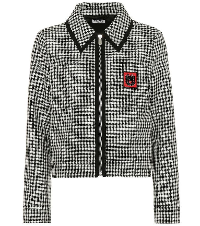 Miu Miu Houndstooth wool jacket in black