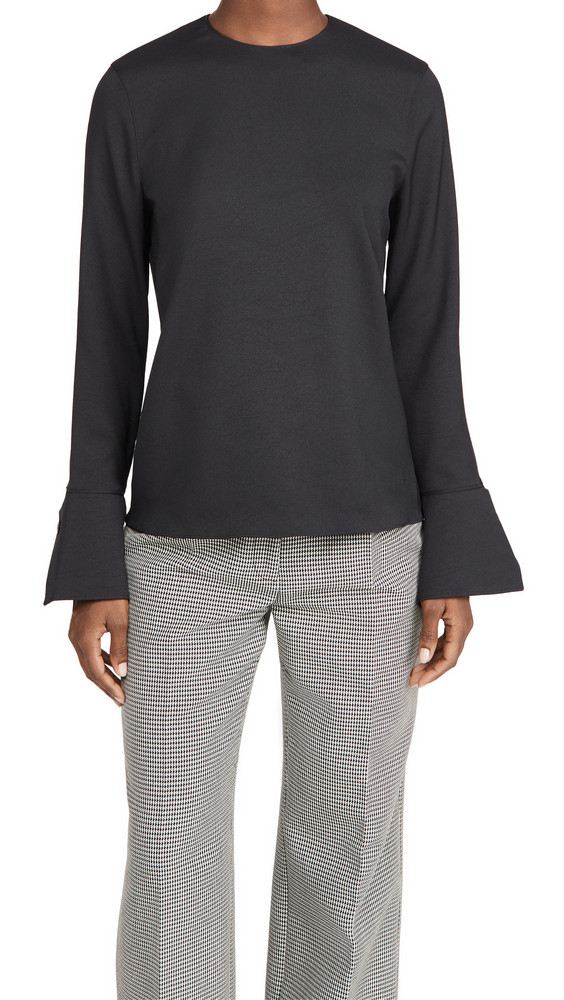 Tibi Long Sleeve Top with Cuff Detail in black