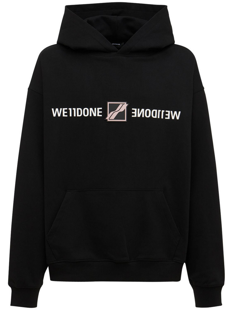 WE11DONE Patched Mirror Logo Cotton Hoodie in black
