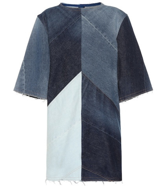 Acne Studios Dylane patchwork denim dress in blue