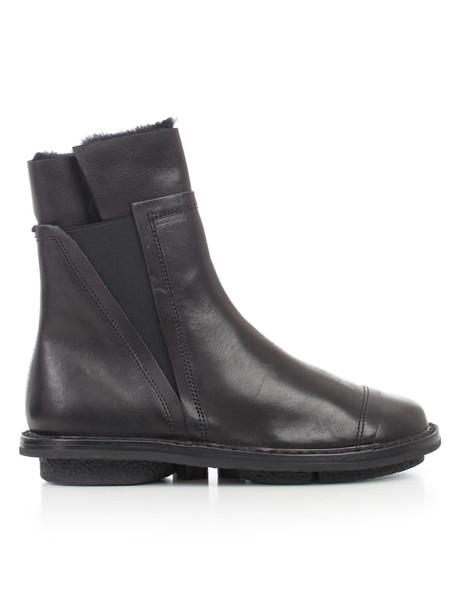 Trippen Ankle Boots W/fur in black