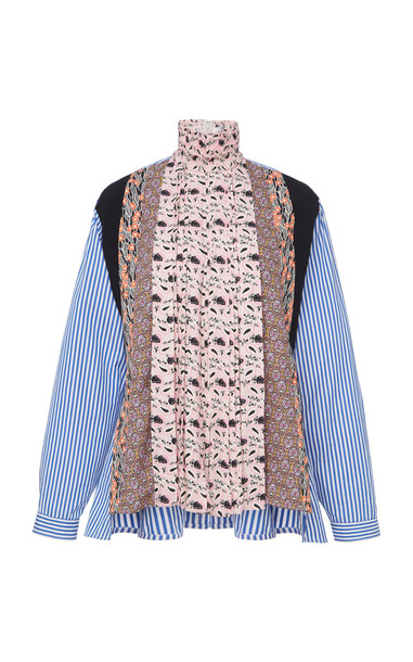 Prada Pleated Patchwork Shirt Size: 36 in print