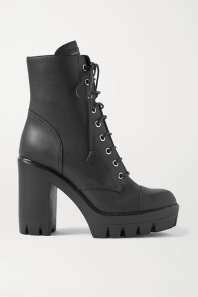 Giuseppe Zanotti - Leather Platform Ankle Boots - Black