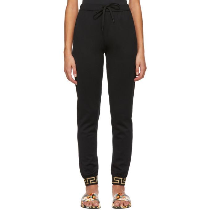 Versace Underwear Black Greek Key Cuff Lounge Pants in nero