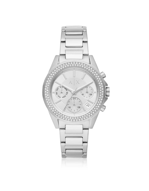 Armani Collezioni Armani Exchange Lady Drexler Stainless Steel Chronograph Watch in silver