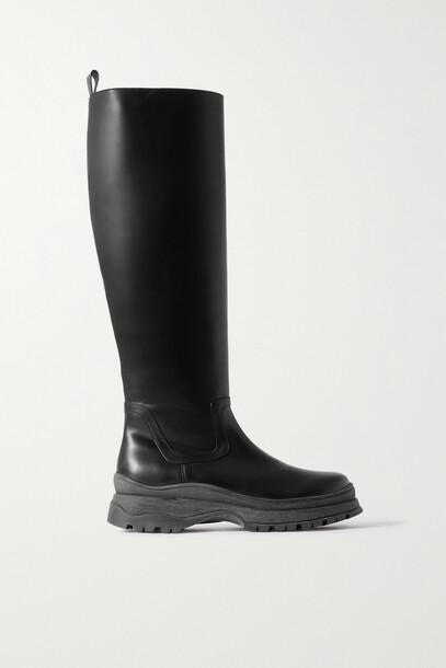 STAUD - Bow Leather Knee Boots - Black